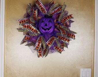 Deco Mesh Halloween Pumpkin Wreath, Pumpkin Wreath, Jack-O-Lantern Wreath,Whimsical Wreath, Wall Decor, Seasonal Wreath