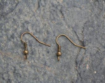 French hooks for pierced ears, bronze