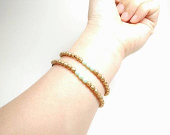 Pale Mint  and Matte Gold Stacking Bracelets with Adjustable Cotton Cord