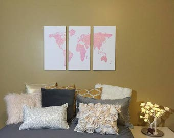 Shimmering Pink World Map