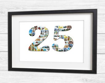 25th Birthday or Anniversary Personalised Photo Collage Canvas, Print Framed Print or Digital Copy