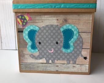Elephant baby shower/birthday party Card box, safari baby shower card box, it's a boy.