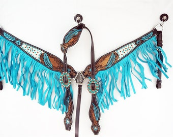 Handmade Floral Bling Leather Turquoise Fringe Headstall Western Horse Trail Barrel Show One Ear Bridle Breast Collar Tack Set