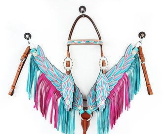Handmade Western Barrel Trail Horse Turquoise And Pink Angel Wings Fringe Tooled Leather Headstall Bridle Breast Collar Set