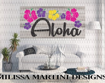 Aloha Sign, Beach Quote, Hawaiian Decor, Girls Room, Stenciled Sign, Wood Sign, SVG, DXF Silhouette Cricut Cut File