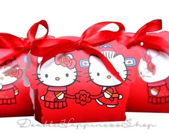 Double Happiness Hello Kitty Dear Daniel Red Wedding Favor Gift Box with Ribbon Foldable DIY (Qty 100) [BHK1]