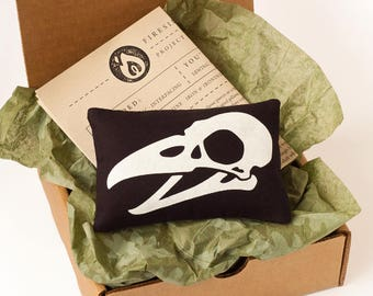 Bird Skull Mini Pillow - Project Box - DIY Sewing Kit - Do It Yourself Project - Pillow Craft Kit