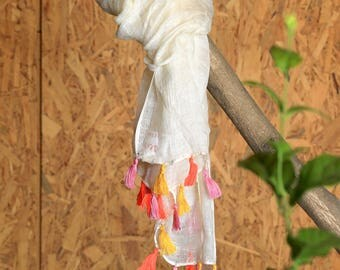 White Scarf/Yellow Orange Pink Tassel/Colourful Unique/Fashionable Scarf/Trendy/Wrap/Shawl/Gift For Her/Spring Summer Scarf/Fringed Wrap
