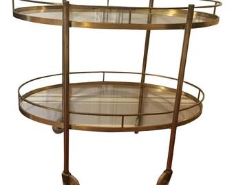 MCM Mid-Century Modern Brass Bar Cart- Vintage