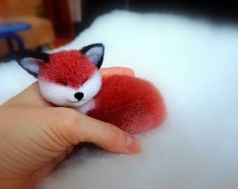 Fox. Needle felted Red Fox 2  - Miniature sculpture Handmade Felt toy -  Red Fox as a gift-realistic Red Fox. Chanterelle