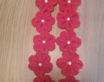 Handmade crochet flowers with white bead center pack of 10