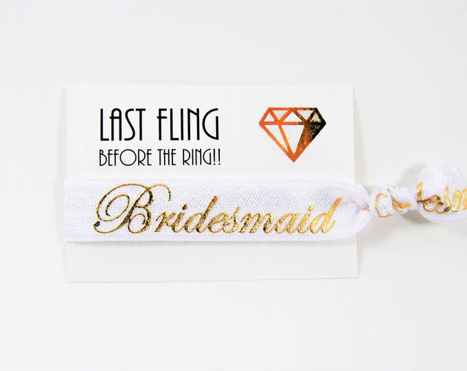 Last Fling Before The Ring, Bridesmaid Hair Tie Favors, Wedding, Bridesmaids, Bachelorette, Bridal, Party Favors, Hair Ties, Ponytail Holder
