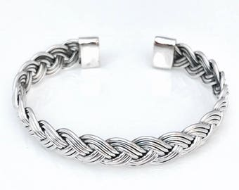Sterling Silver Braided Bangle with Three Wire Design