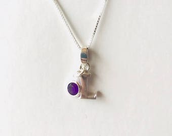 Sterling silver Letter and birthstone Necklace, Necklace With Letter Charm, Initial Jewellery