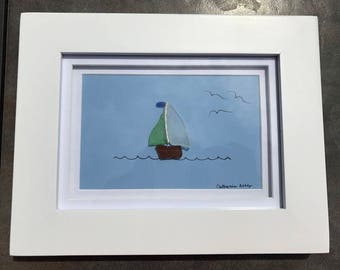 Sea Glass Sailboat - Sea Glass Art - Beach and Nautical Art