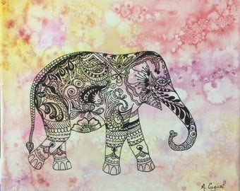 elephant - original drawing on cotton canvas
