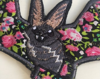 Cute Long Eared Bat Iron On Embroidered Patch Flower Wings