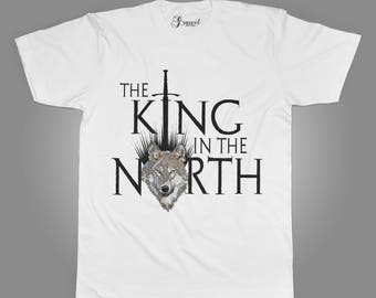 The king in the North - Men's T-shirt - Thrones - Medieval - Fantasy shirt -  the North Remembers - Wolf - Sword
