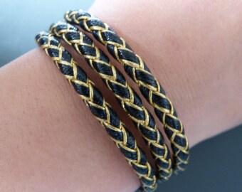Navy leather bracelet black & gold
