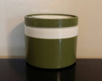 Thermos Insulated Jar. Approximately 1 cup capacity. Model 115/3. Olive green color.