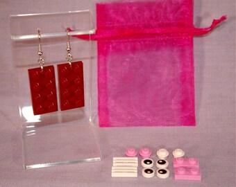 LEGO Design Your Own Earrings - Dark Red