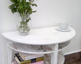White Distressed Table with Shelves