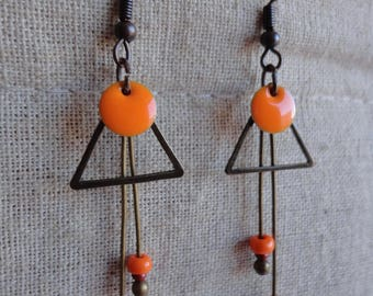 """Orange Galaxy"" beads, sequins, triangles and original earrings"