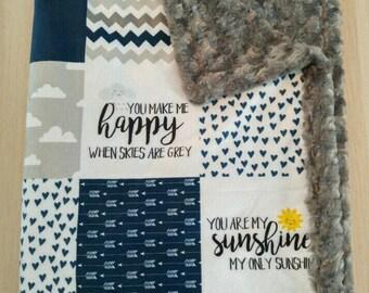 Designer Minky Blanket - Block Style Crib Blanket - You are my sunshine