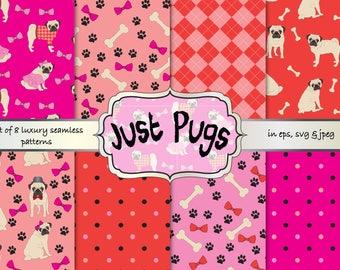 Pugs digital papers, pugs seamless patterns, pugs vector patterns, dogs digital papers, dogs seamless patterns, pugs seamless backgrounds