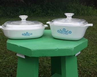 Vintage Cornflower Blue Corningware Casserole Dishes With Lid, Corning Ware Casserole Dish Set, Mid Century Farmhouse, Retro Kitchen Decor