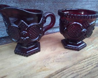 Vintage Avon Cape Cod Ruby Red 1876 Glass Sugar Bowl and Creamer Pitcher, Sugar and Cream Set, Farmhouse, Cottage Chic, Kitchen Decor