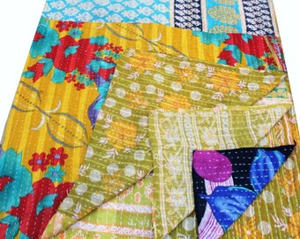 Indian Vintage kantha Quilt Reversible Gudri Bohemian Bedspread Home Decor Table Cover Birthday Gift Unique Gift Anniversary 208 cm X 139 cm