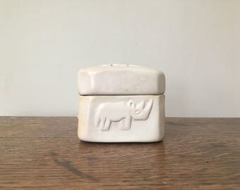 Small Carved Soapstone Rhino Box