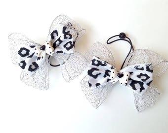 White Black Hair Bows, Pigtail bows, Ponytail bow, Girl hair bow, Girls pigtail, Girls Hair Clips, white black bow, White bow, photo props