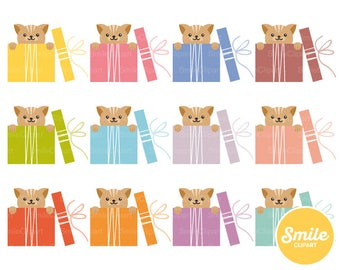 Cat in Box Clipart Illustration for Commercial Use | 0285