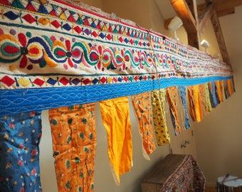 Huge Vintage Indian Holy Antique Gujarat Temple Auspicious Toran Trim Valence Textile Bunting Flag Wall Hanging