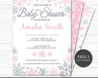 Printable Winter Baby Girl Shower Invitation | Baby Shower Invite | Girl  Shower | Silver Glitter