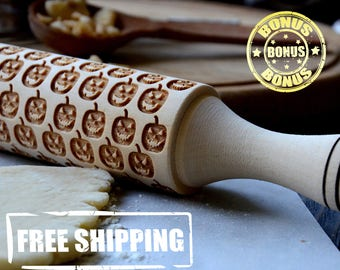 Deluex Wooden Rolling Pin 4 Size Smile Pumpkin Halloween Modern Engraved Pattern Handmade Wooden rolling pin Idea for Gift Embossing roller