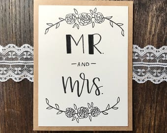 Mr. and Mrs. Greeting Card with Floral Wreaths - Handmade Calligraphy Card - Single Card