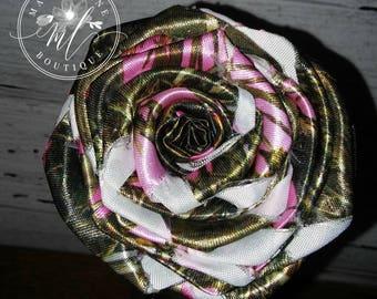 Pink Camo Satin Fabric Rose, Single Stem Camo Rose, DIY Bouquet Flowers,  Camo