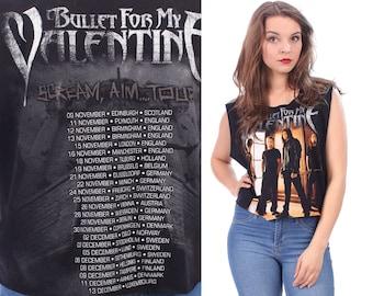 Bullet For My Valentine Shirt 1990s Scream Aim Concert Tour Tee Cut Off Raw Edges Vintage Tank Top Cropped Low Armhole Black Cotton Medium