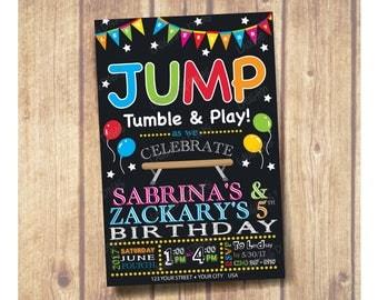 Gymnastics Theme Birthday Party Invitation; Chalkboard Gymnastics birthday party invitation; Gymnastics ; Gender Neutral