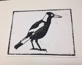 Black and White Magpie Print