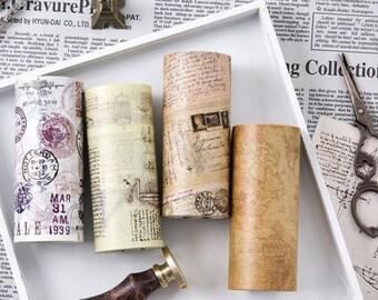 10cm Wide Washi Tape Set 2 - Vintage Paper, Planner, Journal, Craft, Scrapbooking, Decoration