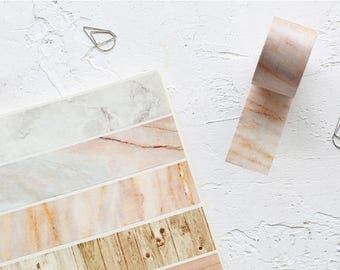 Marble & Wood Print Washi Tape Set - Planner, Journal, Craft, Scrapbooking, Decoration