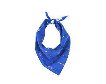 Cobalt Blue Ikat Pattern Small Dog Bandana // Scarf // Neckerchief // Neck Tie