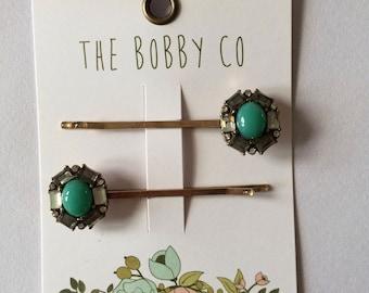 Bobby Pin Green, Crystal Quartz - Hair Pin - Hair accessories -girl