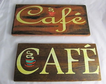 "Wood Sign ""Cafe"",Pecan Stain, Text in Antiqued Matte White, 2 Styles available, Perfect On your Dining or Kitchen Wall, Makes a Great Gift!"