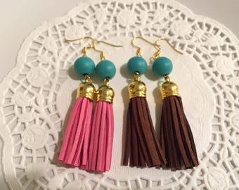 Turquoise Colour Beads & Tassel Earrings