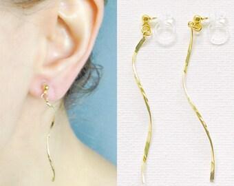 Invisible Clip On Earrings, Spiral Earrings, Dangle Earrings,  Non Pierced Earrings